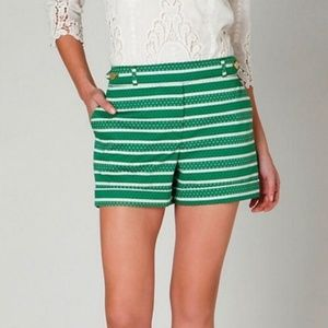 Anthro Meadow Rue Madison Green Striped Shorts 0